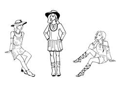 Vector illustration of three beautiful fashion girl - stock illustration