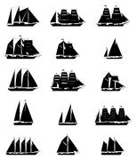 Sailing Ships Set - stock illustration