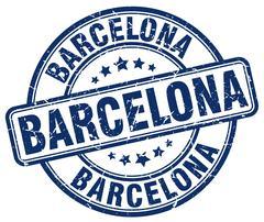 Barcelona blue grunge round vintage rubber stamp Stock Illustration