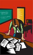 Depressed Female School Teacher Classroom Woodcut - stock illustration