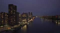 hyper-lapse view of cityscape panorama at night  - stock footage