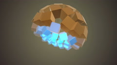 Morphing Cubes Sphere Gold and Blue - stock footage