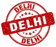 Delhi red grunge round vintage rubber stamp - stock illustration