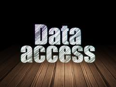 Data concept: Data Access in grunge dark room - stock illustration