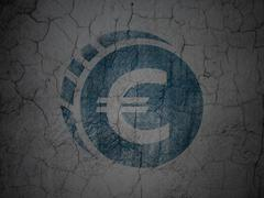 Currency concept: Euro Coin on grunge wall background Piirros