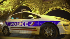 Closeup of police car under huge iron construction, public safety protection Stock Footage