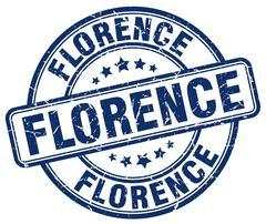 Florence blue grunge round vintage rubber stamp - stock illustration