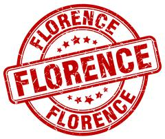 Florence red grunge round vintage rubber stamp - stock illustration