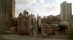 Aerial view of city metropolis landmarks. urban street scene Stock Footage