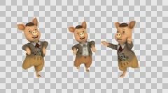 Three pig dance, fairy tale,alpha channel, animation Stock Footage