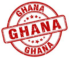 Ghana red grunge round vintage rubber stamp - stock illustration