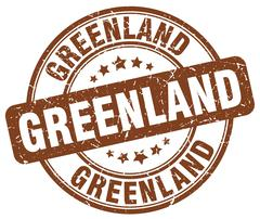 Greenland brown grunge round vintage rubber stamp - stock illustration
