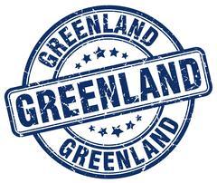 Greenland blue grunge round vintage rubber stamp - stock illustration