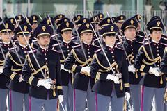 Rome, Italy - May 25, 2016: Men of traffic police deployed during the celebratio Stock Photos