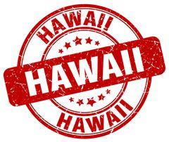 Hawaii red grunge round vintage rubber stamp - stock illustration