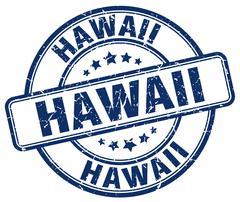 Hawaii blue grunge round vintage rubber stamp - stock illustration