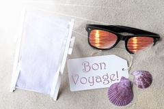 Sunny Flat Lay Summer Label Bon Voyage Means Good Trip Stock Photos