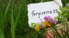 Forgiveness, word on white paper on green nature background Stock Footage