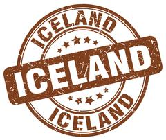 Iceland brown grunge round vintage rubber stamp Stock Illustration