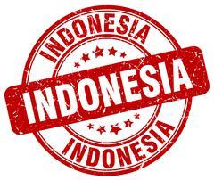 Indonesia red grunge round vintage rubber stamp - stock illustration
