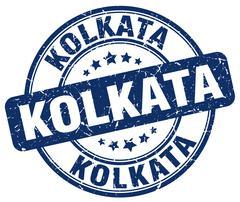 Kolkata blue grunge round vintage rubber stamp - stock illustration