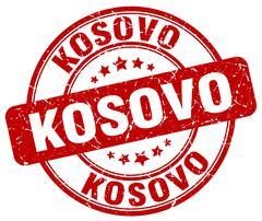 Kosovo red grunge round vintage rubber stamp - stock illustration