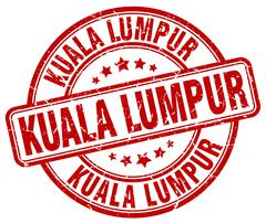 Kuala Lumpur red grunge round vintage rubber stamp - stock illustration