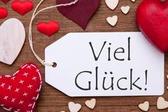 One Label, Red Hearts, Viel Glueck Means Good Luck, Macro Stock Photos