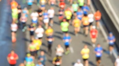 Blurred city half marathon in Kiev Stock Footage