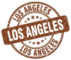 Los Angeles brown grunge round vintage rubber stamp - stock illustration