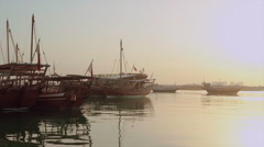 Traditional boats, Dhows next to MIA Parks Stock Footage