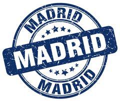 Madrid blue grunge round vintage rubber stamp - stock illustration