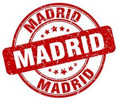 Madrid red grunge round vintage rubber stamp - stock illustration