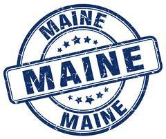 Maine blue grunge round vintage rubber stamp - stock illustration