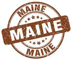 Maine brown grunge round vintage rubber stamp - stock illustration