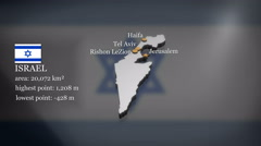 3D animated Map of Israel (without Westbank and Gaza Strip) Stock Footage
