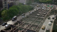 aerial view of cars driving down on city street. traffic commuters commuting - stock footage