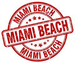 Miami Beach red grunge round vintage rubber stamp - stock illustration
