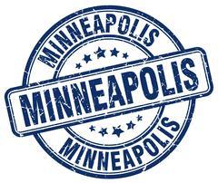 Minneapolis blue grunge round vintage rubber stamp Piirros