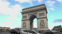 Popular tourist attraction in Paris, crowds of people viewing Triumphal Arch Stock Footage