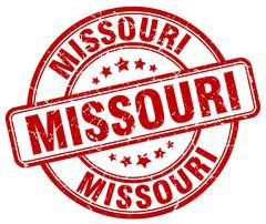 Missouri red grunge round vintage rubber stamp - stock illustration