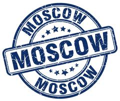 Moscow blue grunge round vintage rubber stamp Stock Illustration