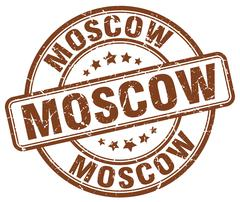 Moscow brown grunge round vintage rubber stamp Stock Illustration