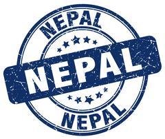 Nepal blue grunge round vintage rubber stamp Stock Illustration