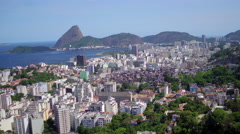Aerial of south zone bay and buildings Rio de Janeiro Stock Footage