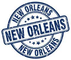 New Orleans blue grunge round vintage rubber stamp - stock illustration