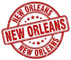 New Orleans red grunge round vintage rubber stamp - stock illustration