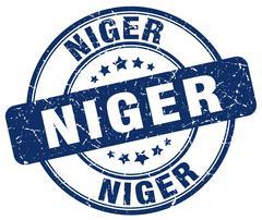 Niger blue grunge round vintage rubber stamp - stock illustration