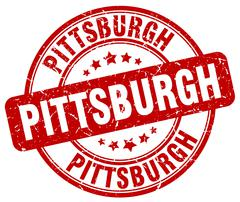 Pittsburgh red grunge round vintage rubber stamp - stock illustration