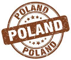 Poland brown grunge round vintage rubber stamp - stock illustration